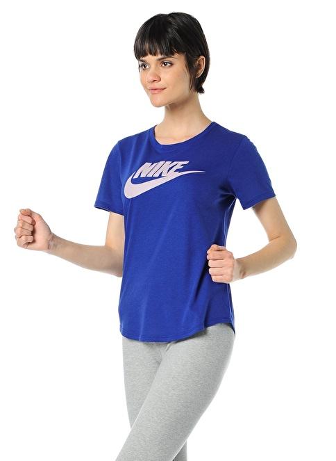Nike Bisiklet Yaka Baskılı Tişört Mavi
